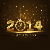 stock photo of happy new year 2014  - golden 2014 year card presentation with nice effect - JPG