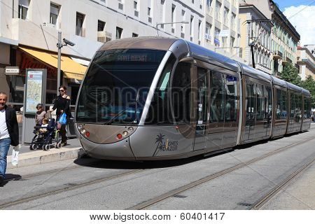 Modern Tram In Nice, France