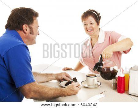 Waitress Serves Cake And Coffee