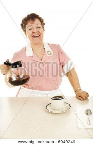 Friendly Waitress With Coffee Pot