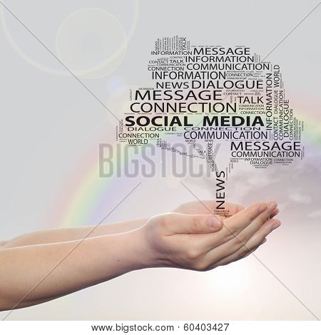 Concept or conceptual black tree contact word cloud tagcloud in man or woman hand on rainbow sky background