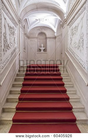 Lisbon, Portugal, December 02, 2013: The Noble Staircase of the Ajuda National Palace, Lisbon, Portugal - 19th century neoclassical Royal palace.