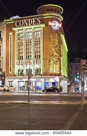 Lisbon, Portugal - June 16, 2013: Hard Rock Cafe in the Liberdade Avenue. Using the former Condes Movie Theater building.