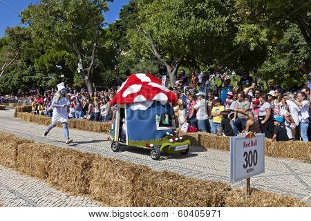 Lisbon, Portugal - September 09, 2011: Lisbon Red Bull Soapboax Race - 2 Grande Premio Red Bull - A Corrida Mais Louca do Mundo. Smurfs theme.
