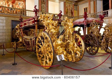 Lisbon, Portugal - June 18, 2013: - Pope Clement XI Embassy Coach (of the Oceans) - 1716 - National Coach Museum, the most visited museum in Portugal -