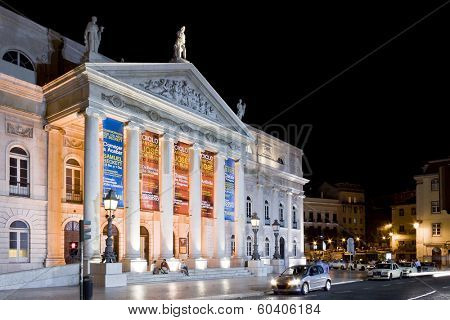 Lisbon, Portugal - September 20, 2013: Dona Maria II National Theatre in Rossio Square, the main square of Lisbon, Portugal