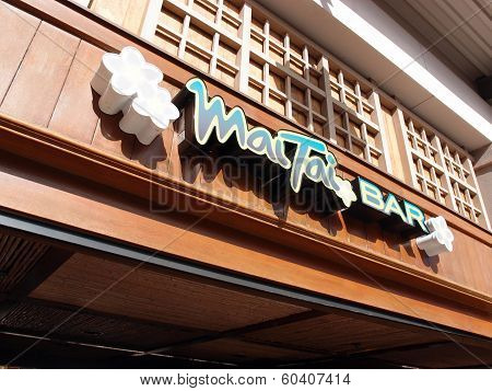 World Famous Mai Tai Bar Sign In Ala Moana Shopping Center