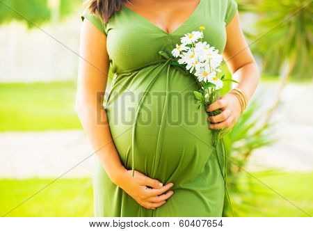 Closeup on tummy of pregnant woman enjoying summer park, wearing long green dress, holding in hands bouquet of daisy flowers, outdoors, new life concept