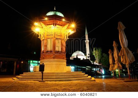 Famous fount in Sarajevo - Night scene