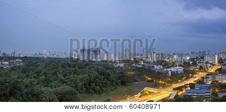 Singapore Cityscape At Evening Blue Hour