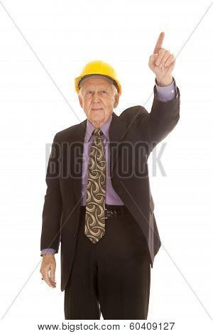 Elderly Man Suit Hardhat Point