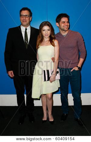 NEW YORK-FEB 24: (L-R) Director Richard LaGravenese, Anna Kendrick and Jeremy Jordan attend the screening of