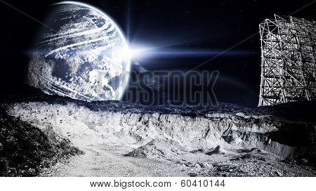 Lunar landscape with radar station