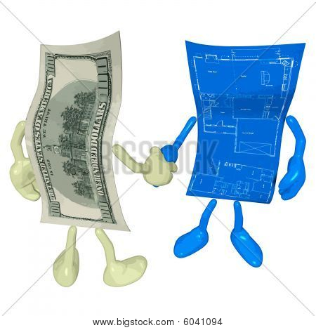 Money Home Construction Blueprint Handshake