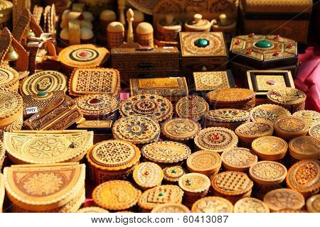 KRASNODAR, RUSSIA - SEPTEMBER 28 - Homemade bark jars and boxes at the fair, Krasnodar city day on 2
