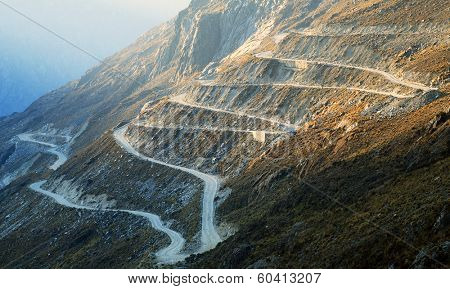 High alpine road in Cordiliera Blanca, Peru, South Amrica