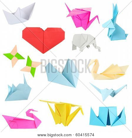Collage of different origami papers isolated on white