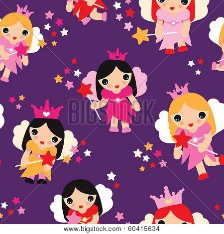 Seamless girls little fairy tale princess in purple illustration background pattern in vector