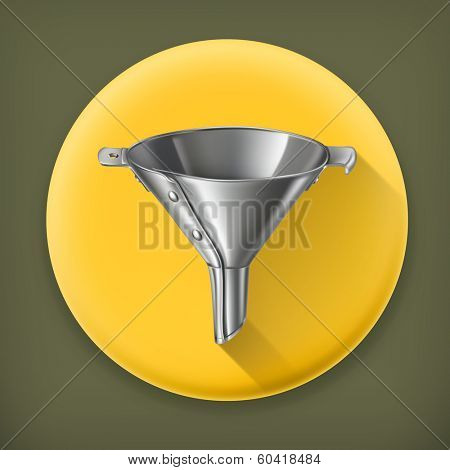 Funnel, long shadow vector icon