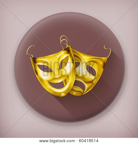Gold theater masks, long shadow vector icon