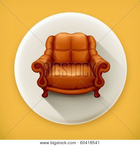 Chair, long shadow vector icon