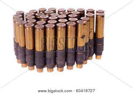 Machine gun ammunition belt isolated on white