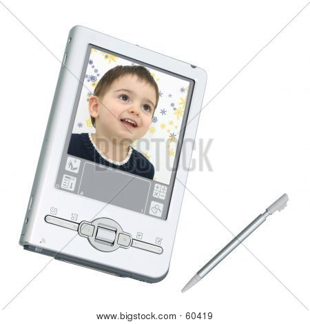 Digital PDA & Stylus sobre blanco