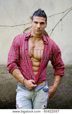 Handsome, Muscular Young Man With Open Shirt
