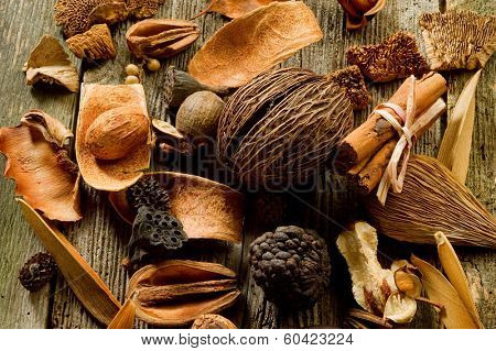 scented potpourri  aromatherapy and spa concept