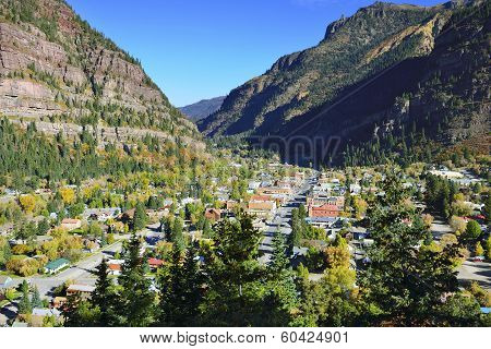 Colourful Mountains Of Colorado And View Of Ouray Town During Foliage Season