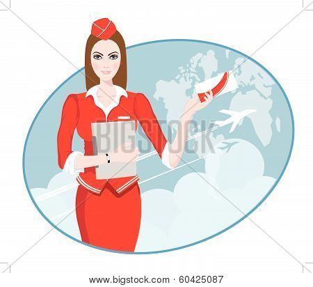 Air Travel: Air hostess holding ticket to the flight, presenting her company's services