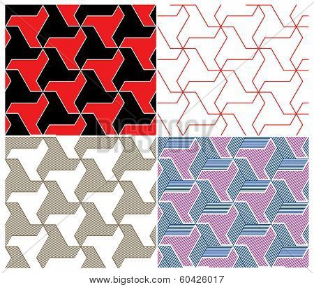 Set of Four Color Seamless Patterns. Triangle Elements. Rasterized Version