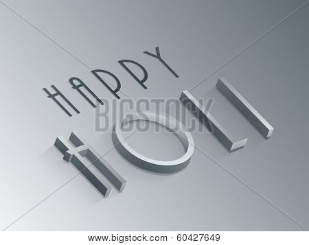 Stylish text Happy Holi on grey background, concept for Indian colour festival Holi celebrations.