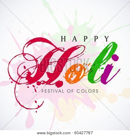 Stylish text Holi on colours splash background, concept for colours festival celebrated in India.