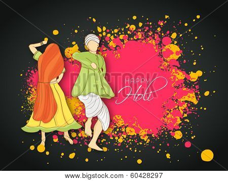 Beautiful Indian colours festival Holi concept with young couple in traditional outfits dancing and playing colours on splash background.