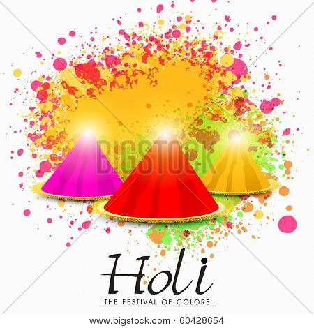 Indian festival Happy Holi celebrations concept with colours on beautiful colours splash background.