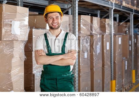 Factory Worker In Warehouse
