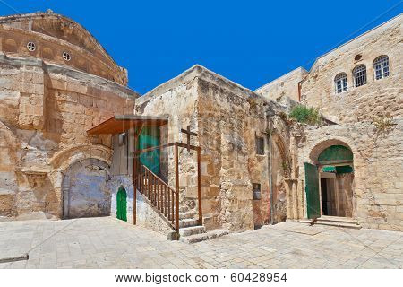 Coptic Orthodox Church courtyard situated on roof of the Church of the Holy Sepulchre in Jerusalem, Israel.