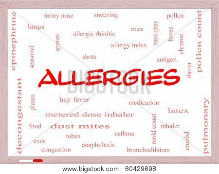 Allergies Word Cloud Concept On A Whiteboard