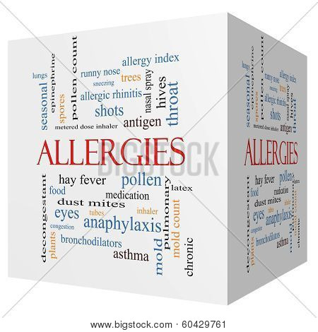 Allergies 3D Cube Word Cloud Concept