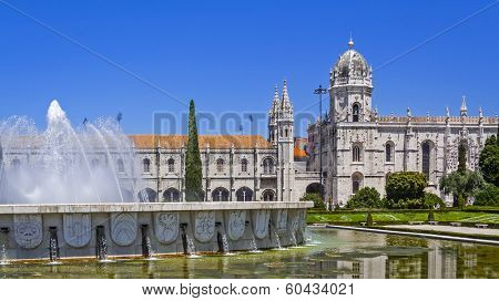 Jeronimos monastery seen from the Imperio garden in Lisbon, Portugal. Classified as UNESCO World Heritage its as a masterpiece of the Manueline art.