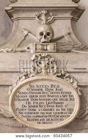 Detail of the 18th Century tomb of Dom Antonio, in the Children of Palhava Chapel. Sao Vicente de Fora Monastery. Lisbon, Portugal