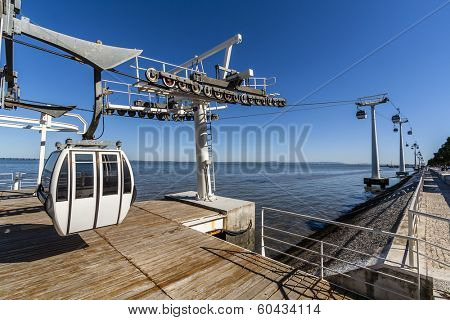 Aerial Tramway leaving the terminal in the Park of Nations (Parque das Nacoes) and Tagus River estuary in Lisbon Portugal.