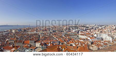 View of the historical Lisbon Baixa (downtown) and Tagus River, from the Sao Jorge (St. George) Castle in Lisbon, Portugal.