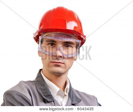 Serious Architect In a Red Hardhat