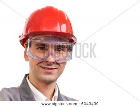 Smiling supervisor In Red Hardhat