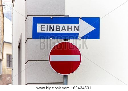 one-way, two road signs, symbol photo for traffic regulations, direction, clarity