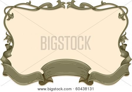 Vintage Frame Illustration Featuring a Gray Ribbon Caught Up in Curls