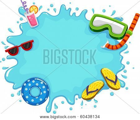Frame Illustration Featuring Water Splashing on the Screen Along with Common Items Used During the Summer