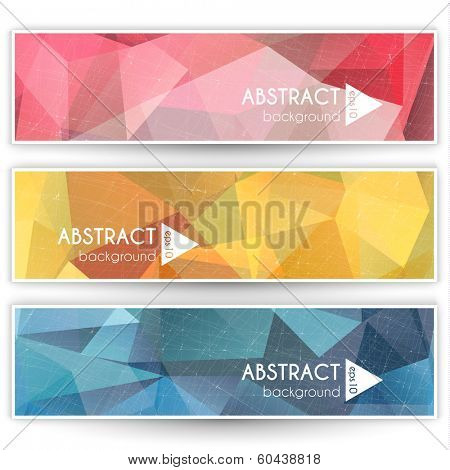 Abstract colorful geometric triangular banners set - eps10